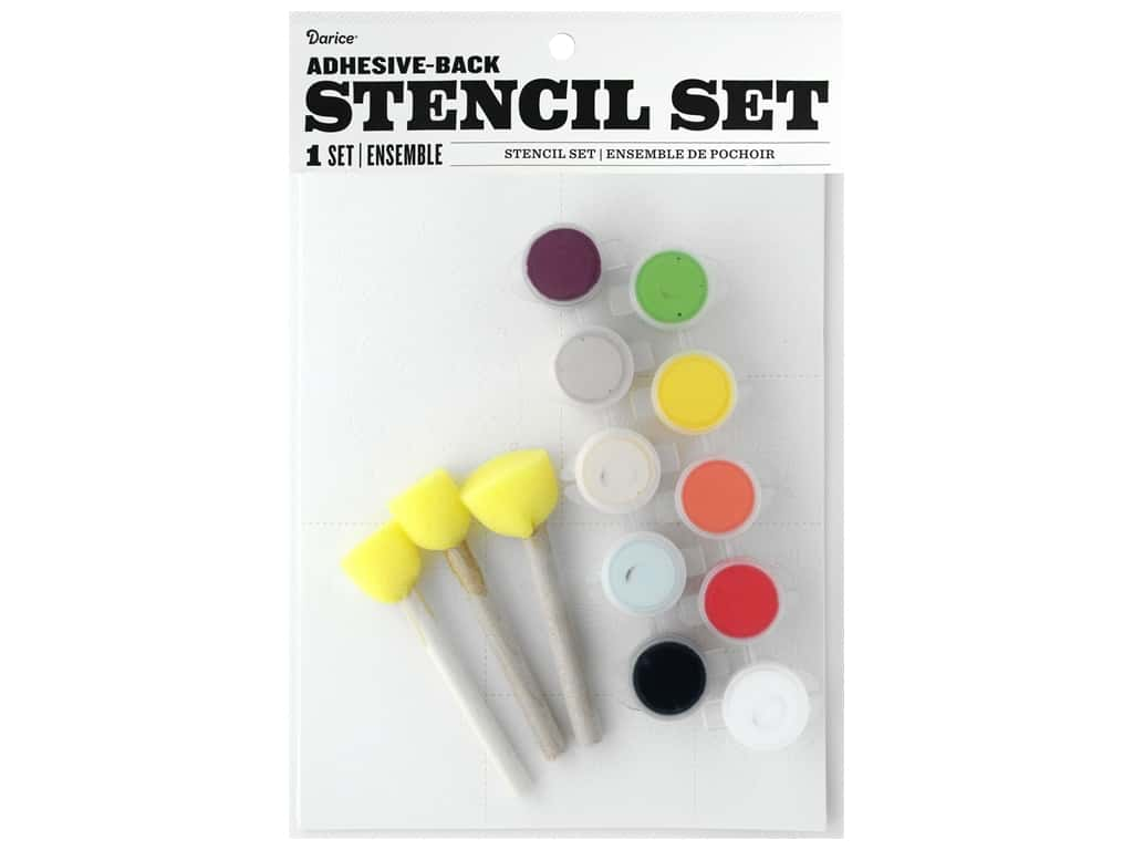 Darice Kit Fabric Paint Stencil Garden