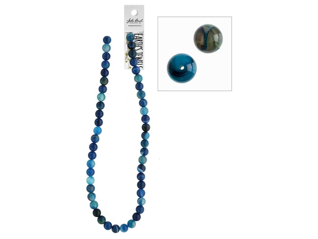 John Bead Semi-Precious 16 in. 8 mm Round Blue Agate Natural Dyed