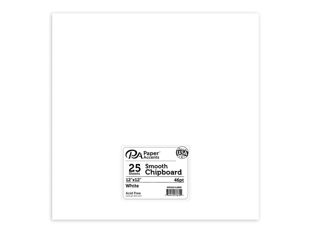Paper Accents Chipboard 12 x 12 in. 46 pt. Extra Heavy White 5 pc.