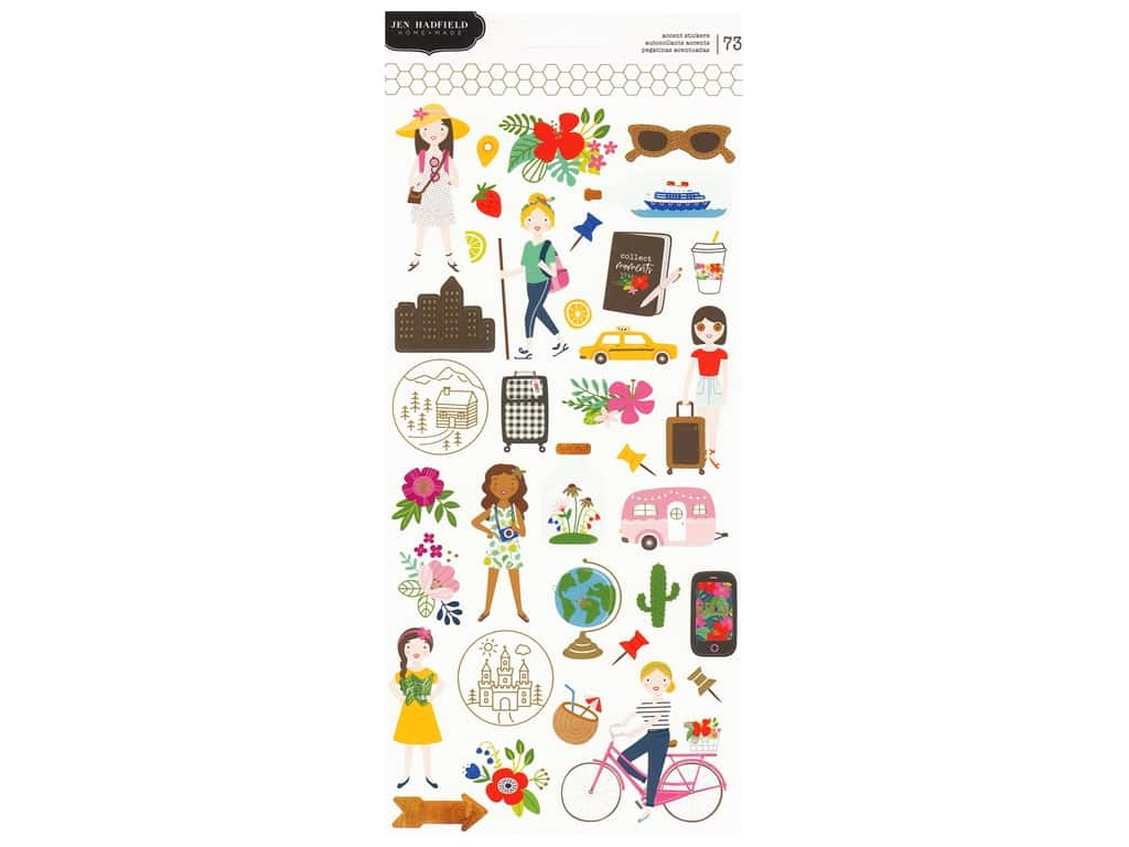Pebbles Collection Hen Hadfield Chasing Adventures Sticker 6 in. x 12 in. Accent Gold Foil