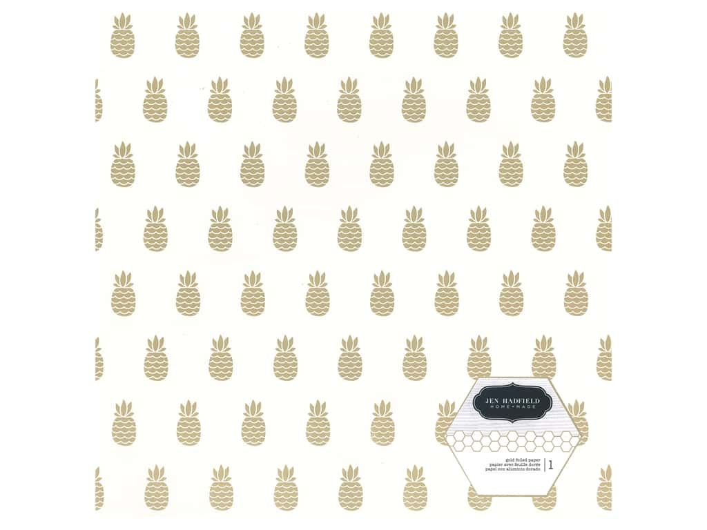 Pebbles Collection Hen Hadfield Chasing Adventures Paper 12 in. x 12 in. Gold Foil Pineapple (15 pieces)