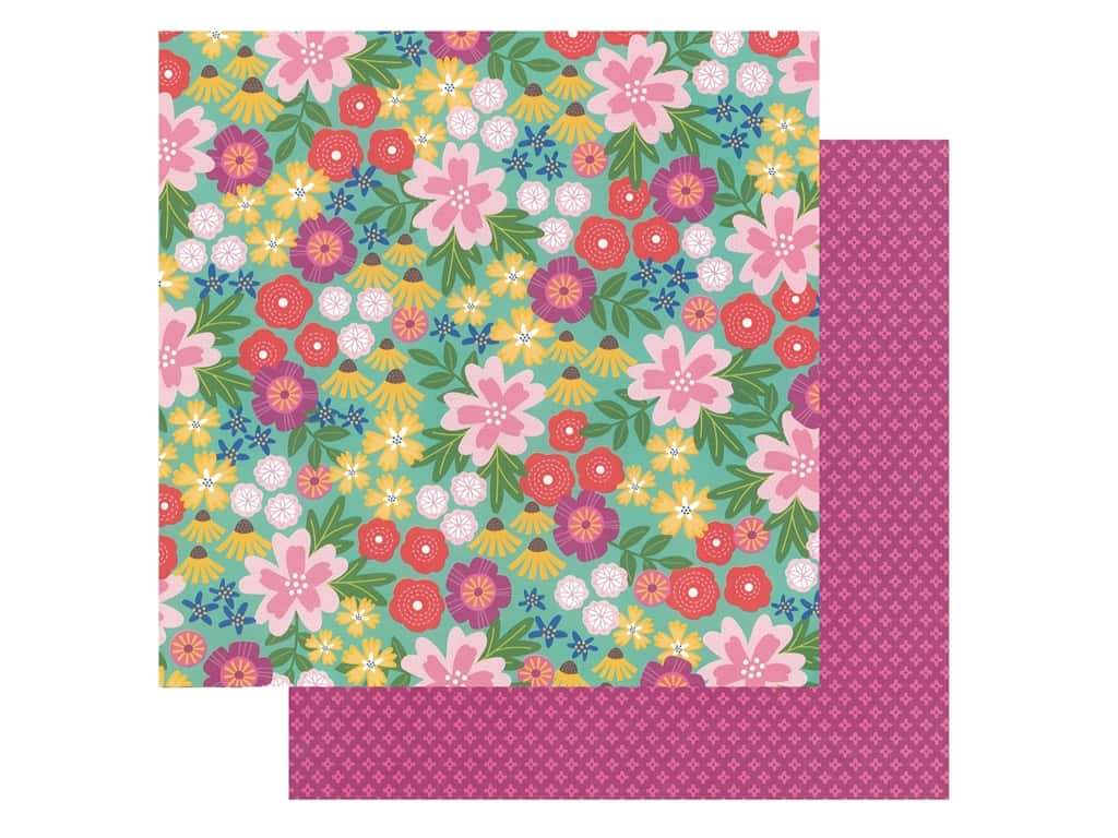 Pebbles Collection Hen Hadfield Chasing Adventures Paper 12 in. x 12 in. Wild Flowers (25 pieces)