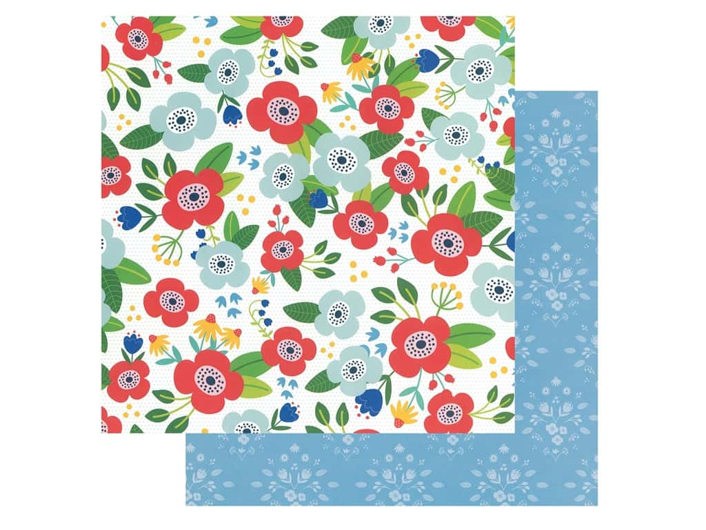 Pebbles Collection Hen Hadfield Chasing Adventures Paper 12 in. x 12 in. Flower Market (25 pieces)
