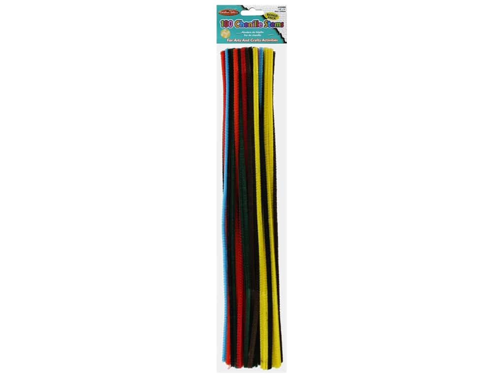 Creative Arts Chenille Stems - 4 mm x 12 in. - Assorted 100 pc.