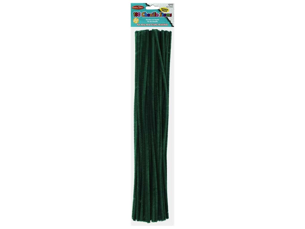 "Creative Arts Chenille Stem 12"" 4mm Green 100pc"