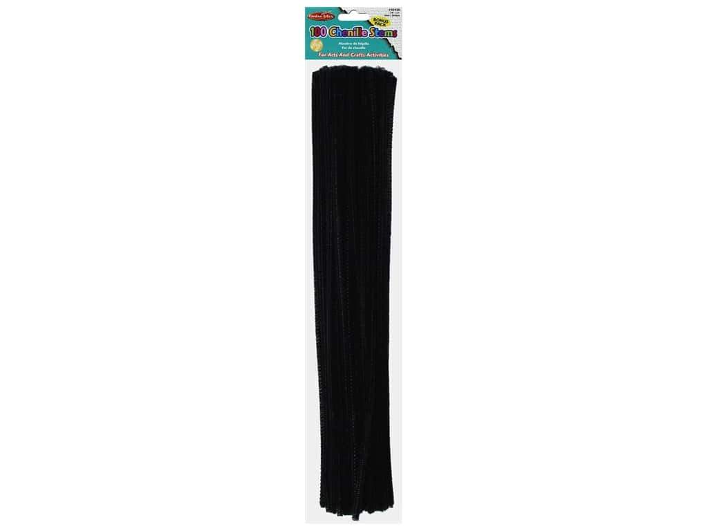 "Creative Arts Chenille Stem 12"" 4mm Black 100pc"