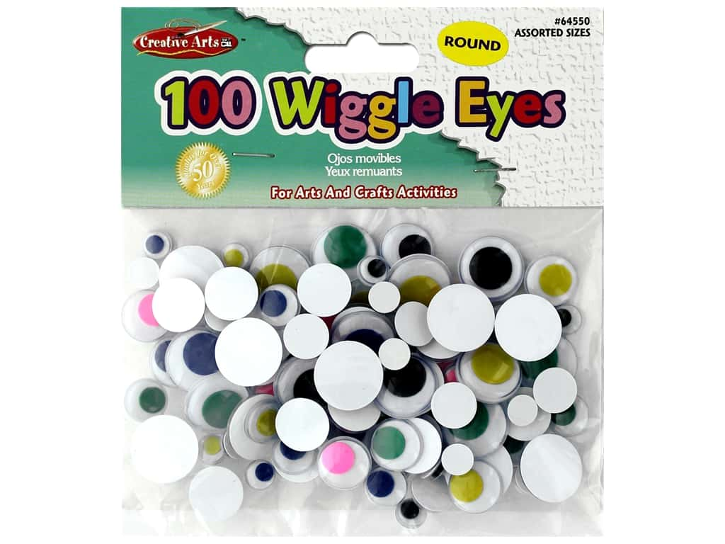 Creative Arts Wiggle Eyes Round Sizes 100 pc Assorted