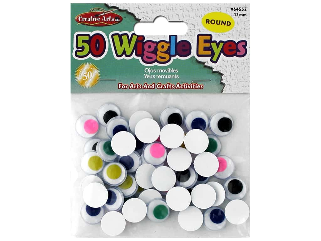 Creative Arts Wiggle Eyes Round 12 mm 50 pc Assorted