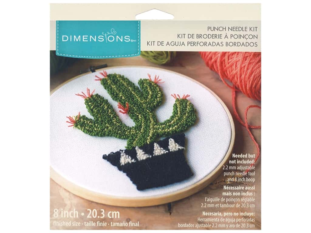 Dimensions Punch Needle Kit 8 in. Prickly Cactus