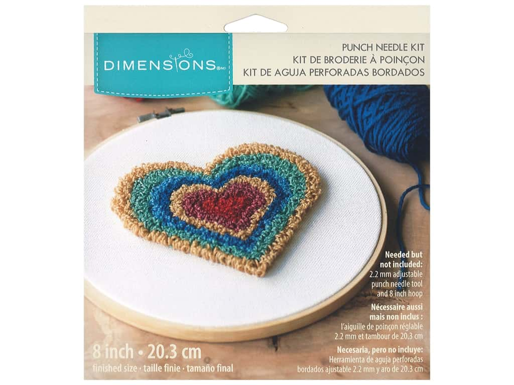 Dimensions Punch Needle Kit 8 in. Heart Retro