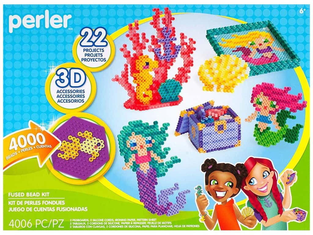 Perler Fused Bead Kit Box Mermaid Acc 4000 pc