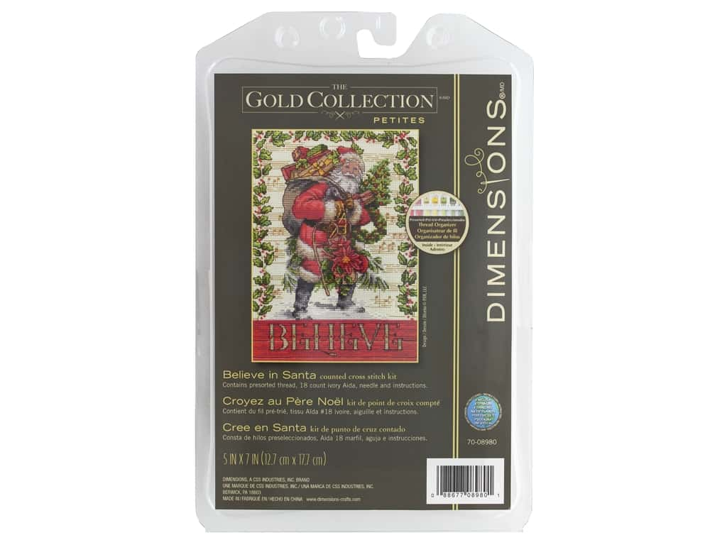 Dimensions Counted Cross Stitch Kit 5 x 7 in. Believe In Santa