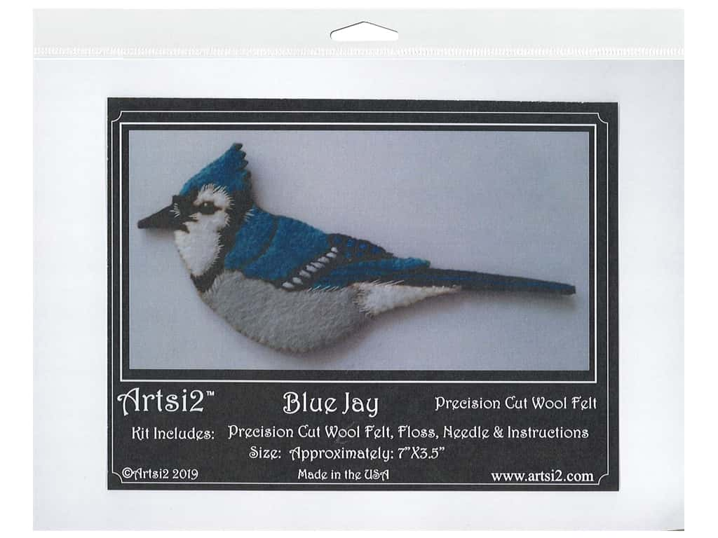Artsi2 Wool Felt Kit Blue Jay Ornament Kit
