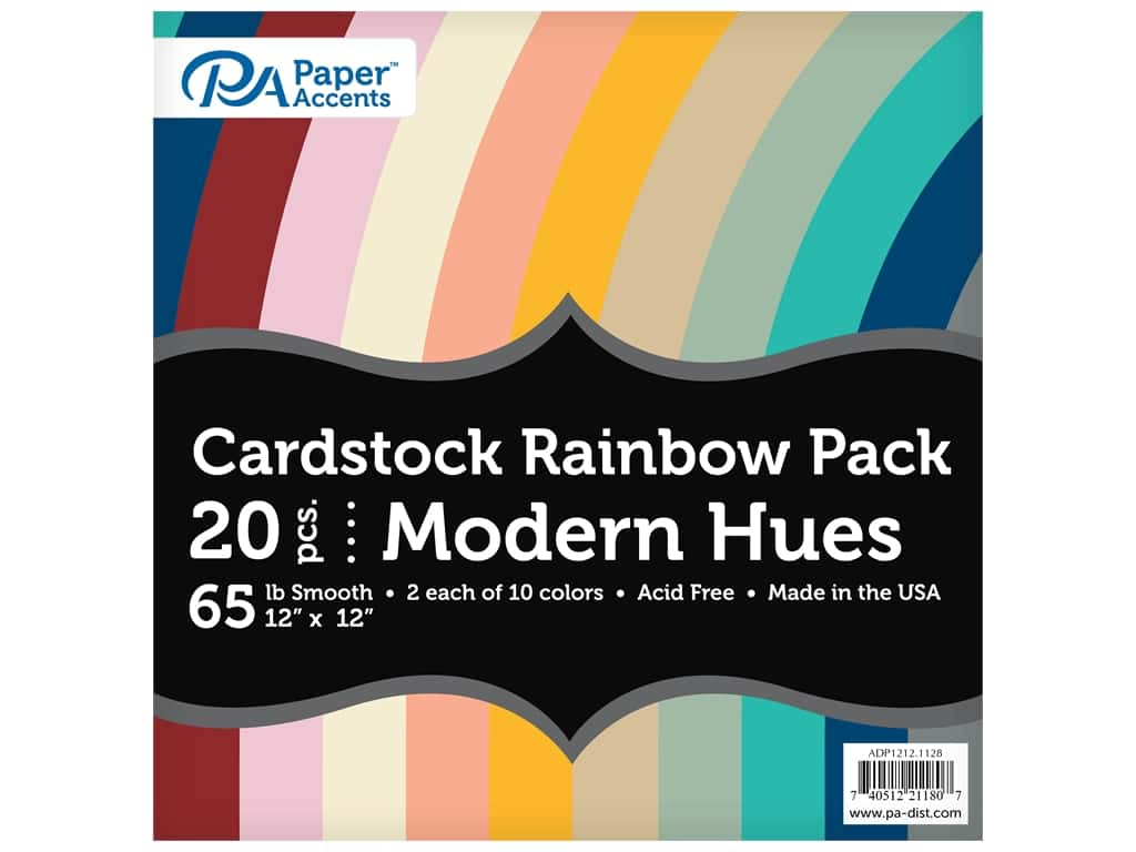 Paper Accents Cardstock Variety Pack 12 in. x 12 in. Rainbow 65 lb Modern Hues 20 pc (3 sets)