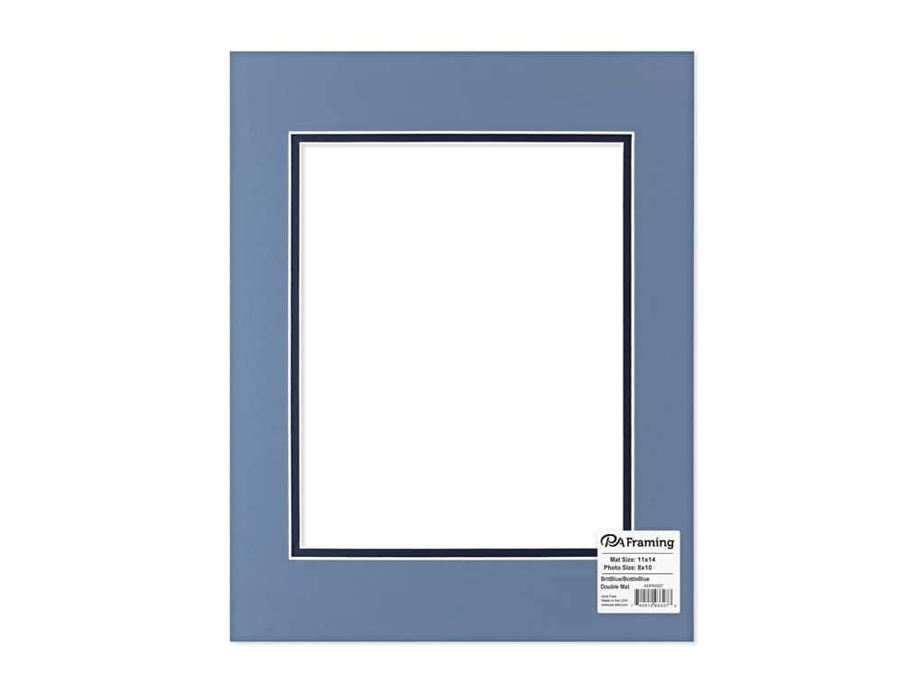 """PA Framing Mat Double 11""""x 14"""" /8""""x 10"""" White Core Brittany Blue/Bottle Blue"""