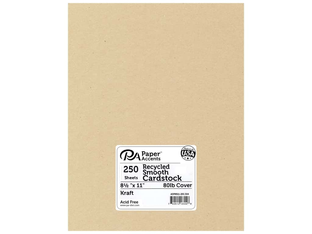 Paper Accents Cardstock 8 1/2 x 11 in. #304 Recycled Kraft 250 pc.