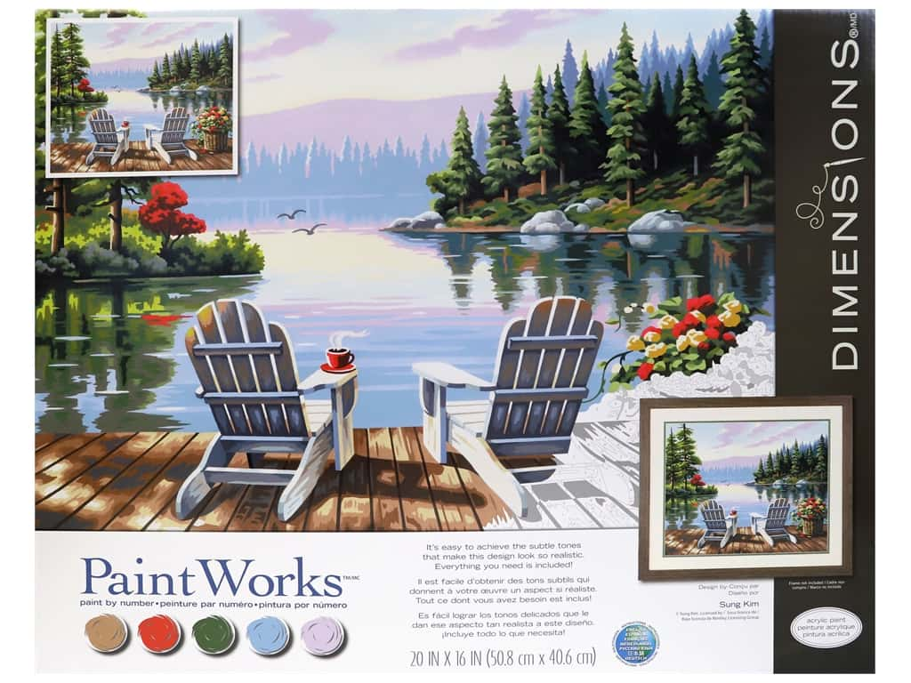 Paint Works Paint By Number Kit 20 in. x 16 in. Lakeside Morning