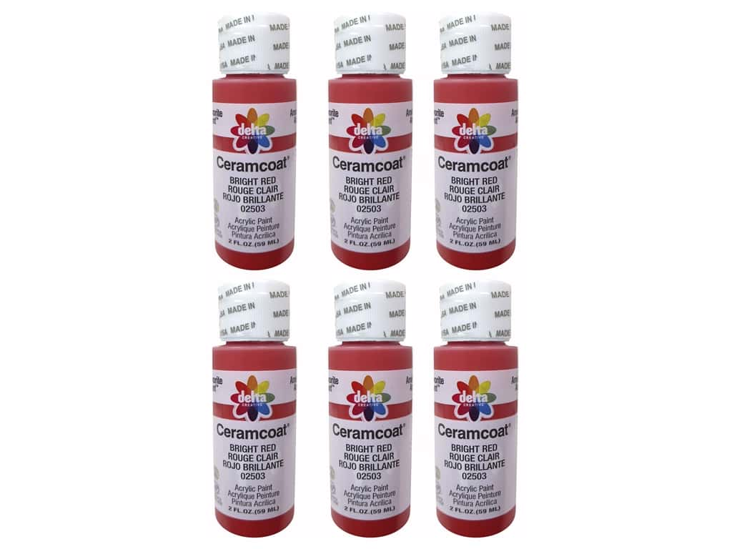 Delta Ceramcoat Acrylic Paint 2 oz. #2503 Bright Red (6 pack)