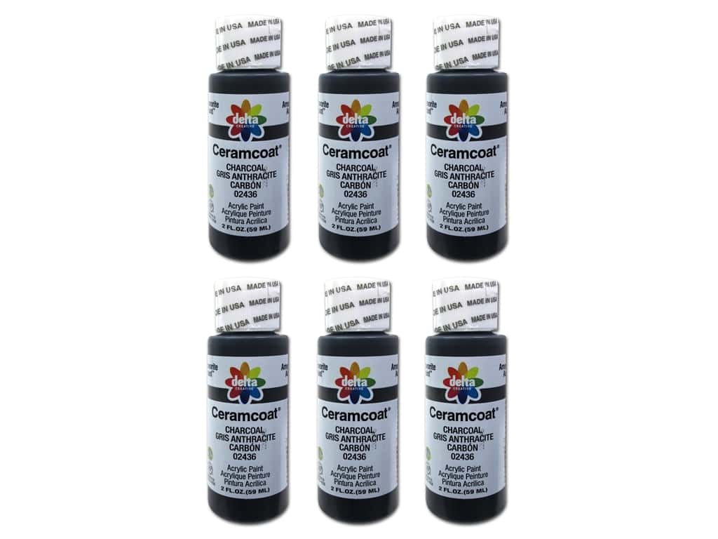 Delta Ceramcoat Acrylic Paint 2 oz. #2436 Charcoal (6 pack)