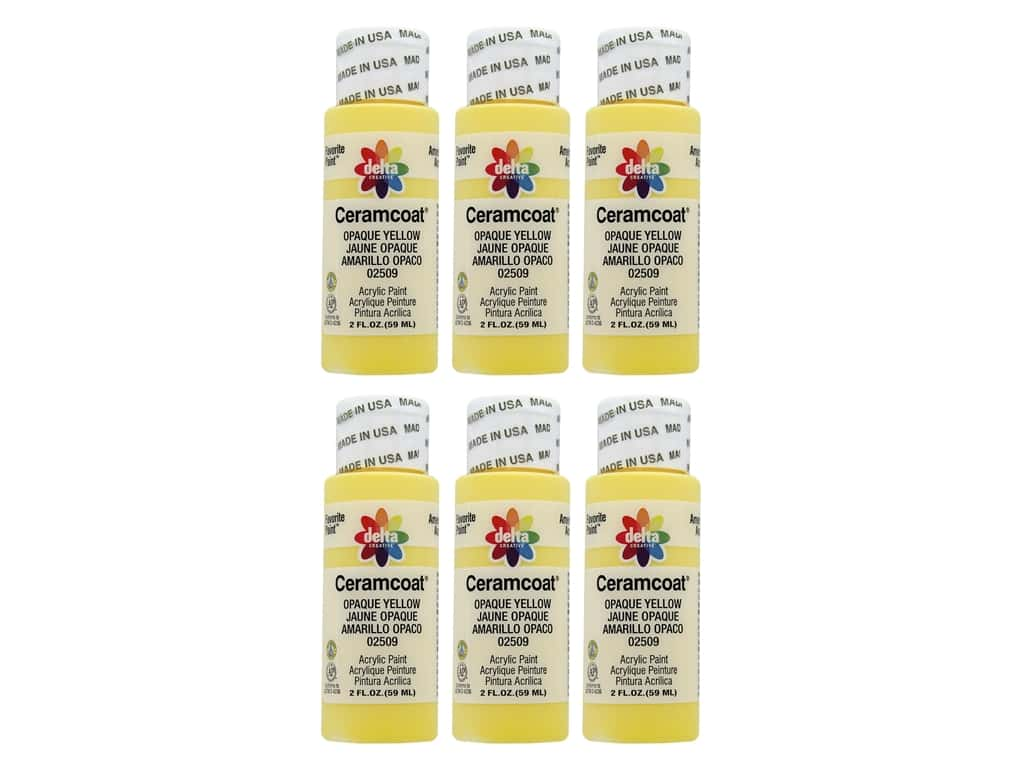 Delta Ceramcoat Acrylic Paint 2 oz. #2509 Opaque-Yellow (6 pack)