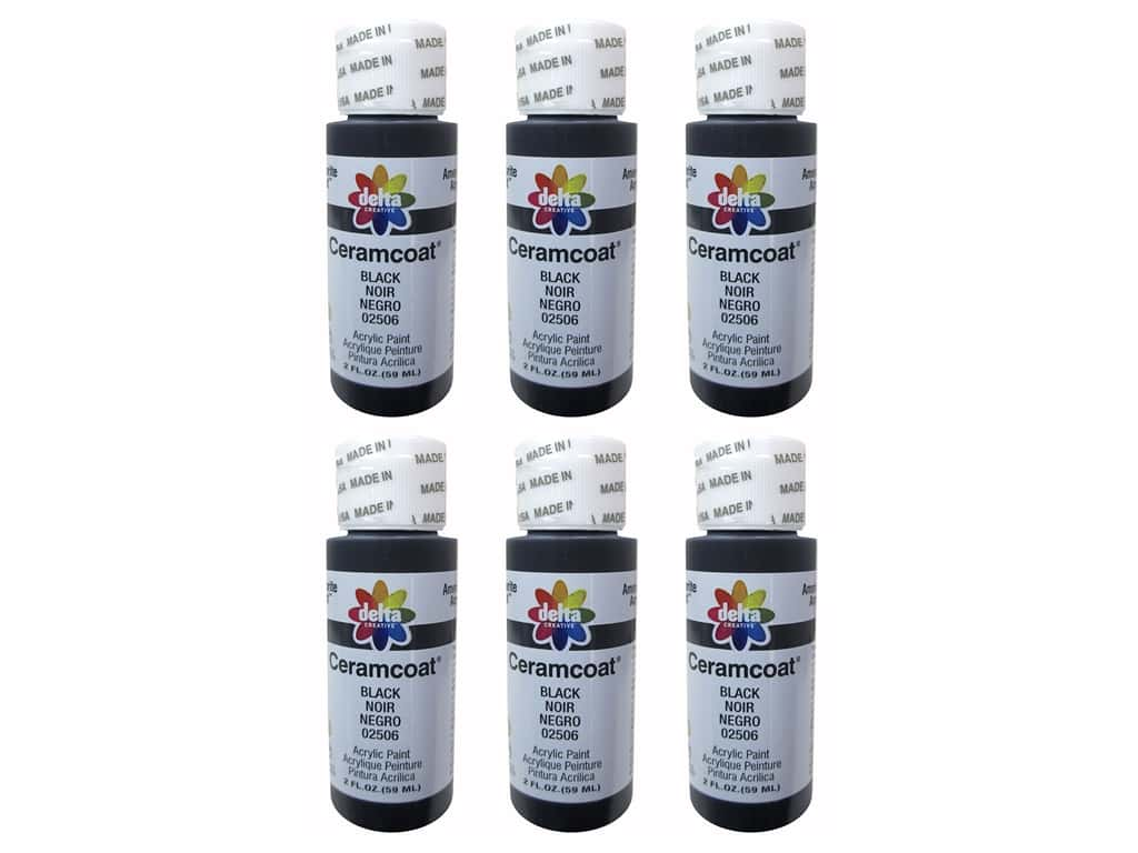 Delta Ceramcoat Acrylic Paint 2 oz. #2506 Black (6 pack)