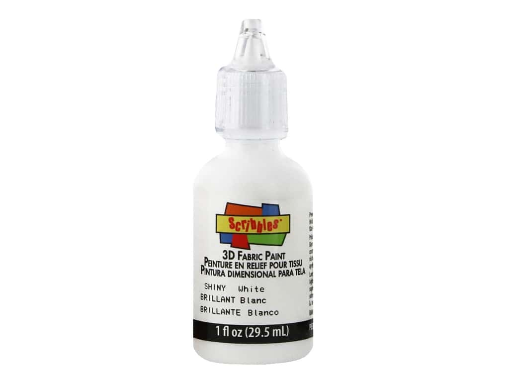 Scribbles 3D Fabric Paint 1 oz. Shiny White