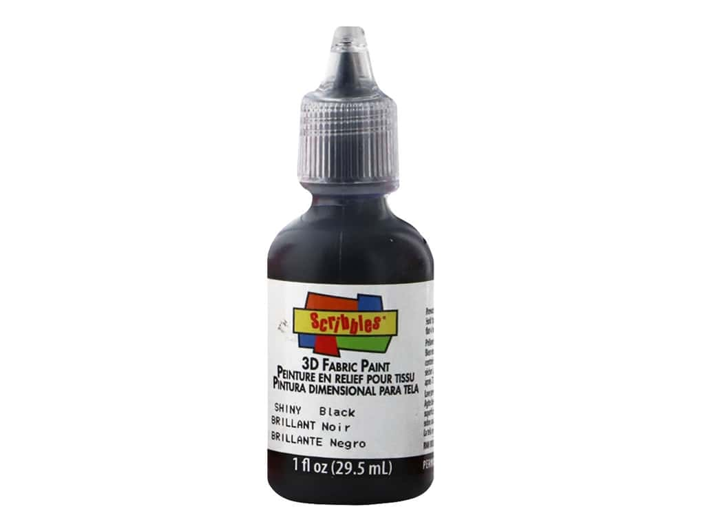 Scribbles 3D Fabric Paint 1 oz. Shiny Black