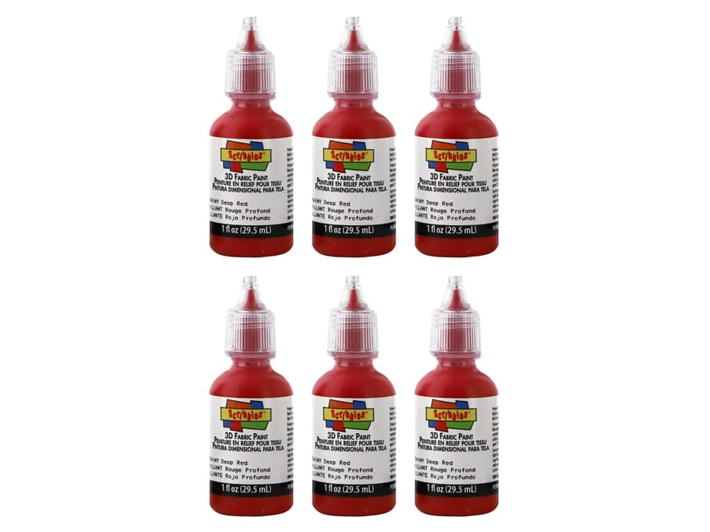 Scribbles 3D Fabric Paint 1 oz Shiny Deep Red 6 pc