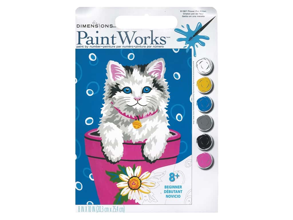 Paintworks Paint By Number Kit 8 x 10 in. Flower Pot Kitten