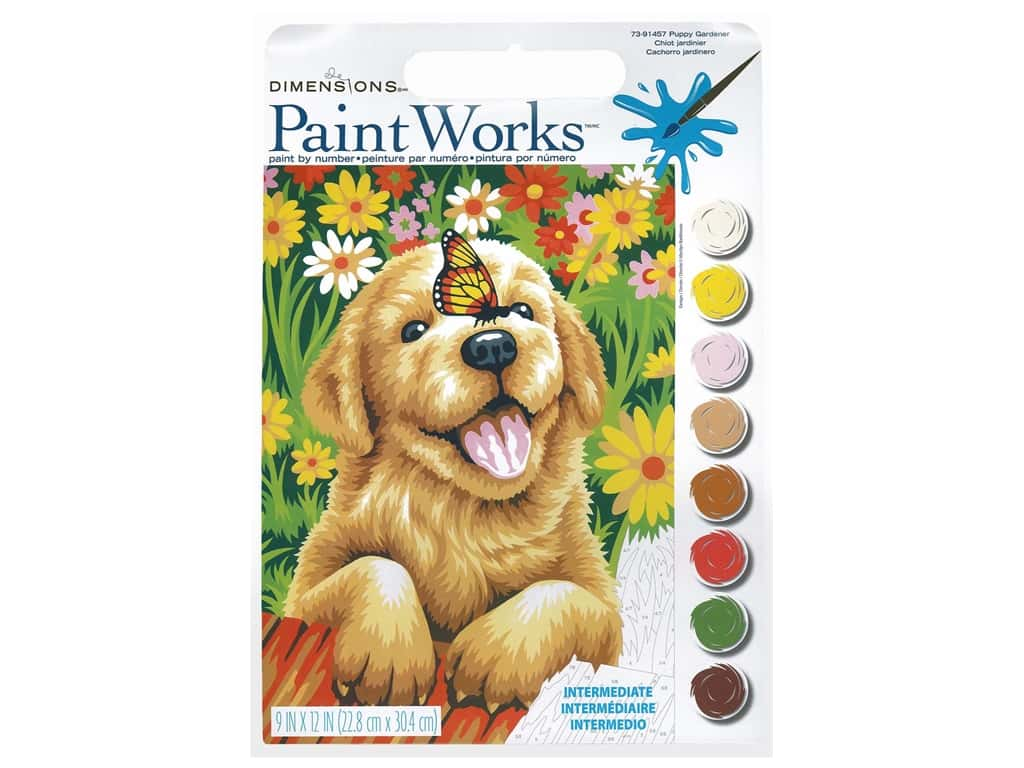 Paintworks Paint By Number Kit 9 x 12 in. Puppy Gardener