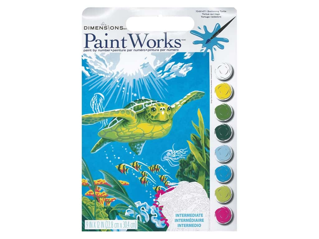 Paintworks Paint By Number Kit 9 x 12 in. Swimming Turtle
