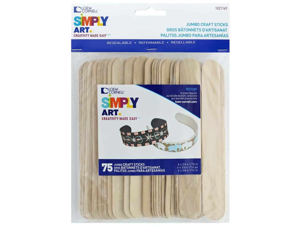 Loew Cornell Simpy Art Jumbo Craft Sticks 75 pc.