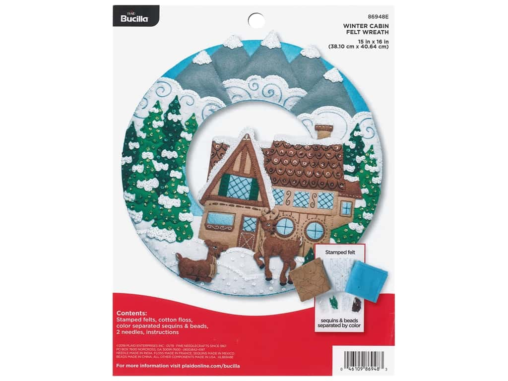 Bucilla Felt Kit Winter Cabin Wreath