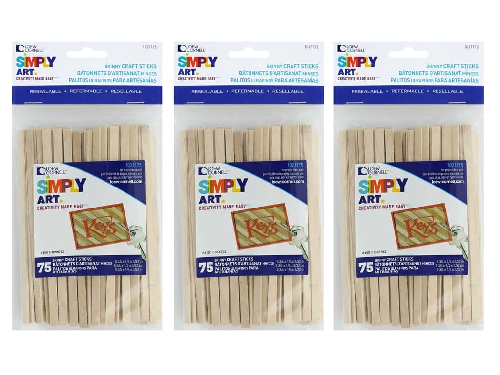 Loew Cornell Simply Art Wood Skinny Craft Sticks 75 pc. (3 pack)