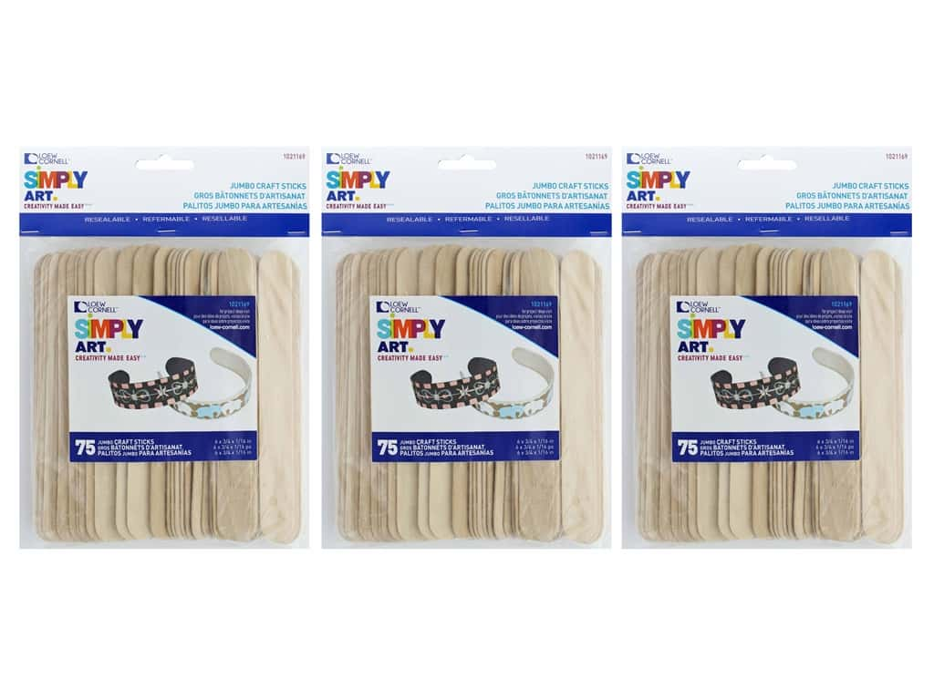 Loew Cornell Simpy Art Jumbo Craft Sticks 75 pc. (3 pack)