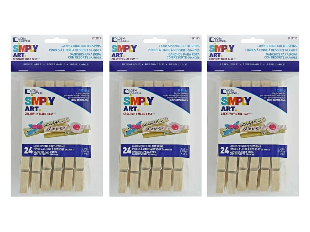 Loew Cornell Simpy Art Large Spring Clothespins 24 pc. (3 pack)