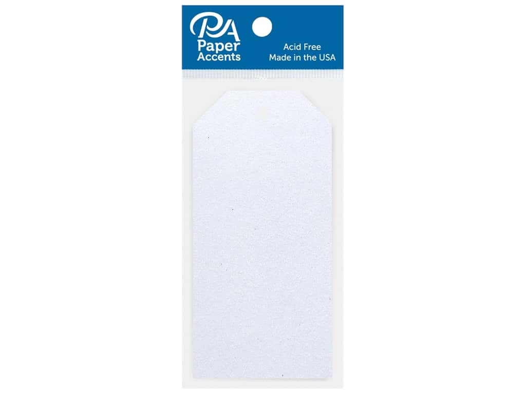 Paper Accents Craft Tags 2.125 in. x 4.25 in. Glitter Iridescent White 10 pc