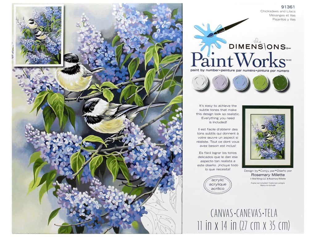 Paint Works Paint By Number Kit 11 x 14 in. Chickadees & Lilacs