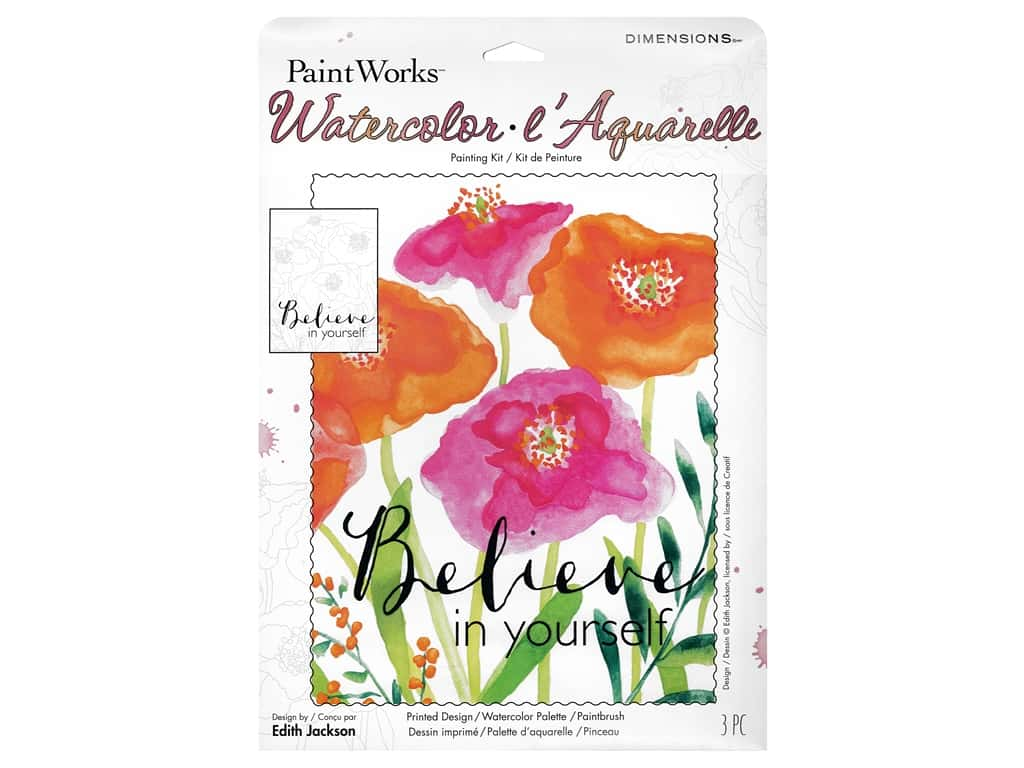 Paint Works Watercolor Painting Kit 9 in. x 12 in. Believe In Yourself