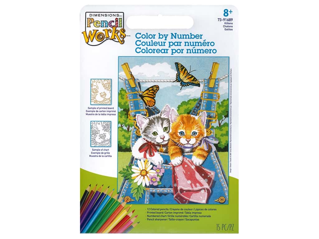Paint Works Pencil Color By Number Kit Pencil 9 in. x 12 in. Kittens