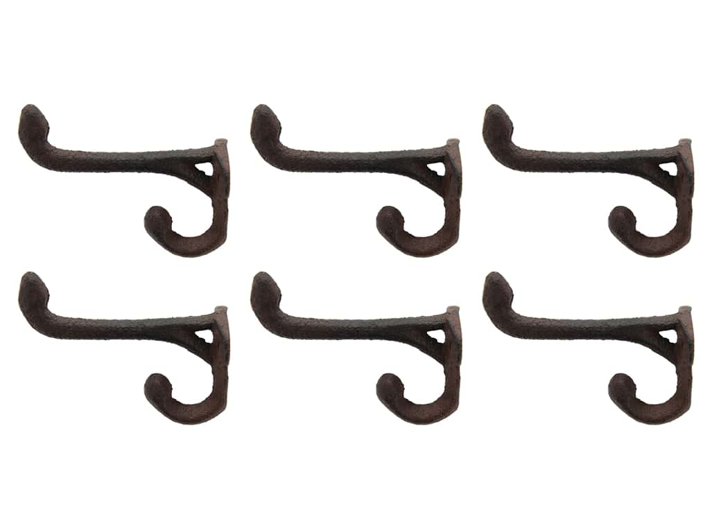 Straight Iron Hook With Double Prong 3.5 in. Brown 6 pc