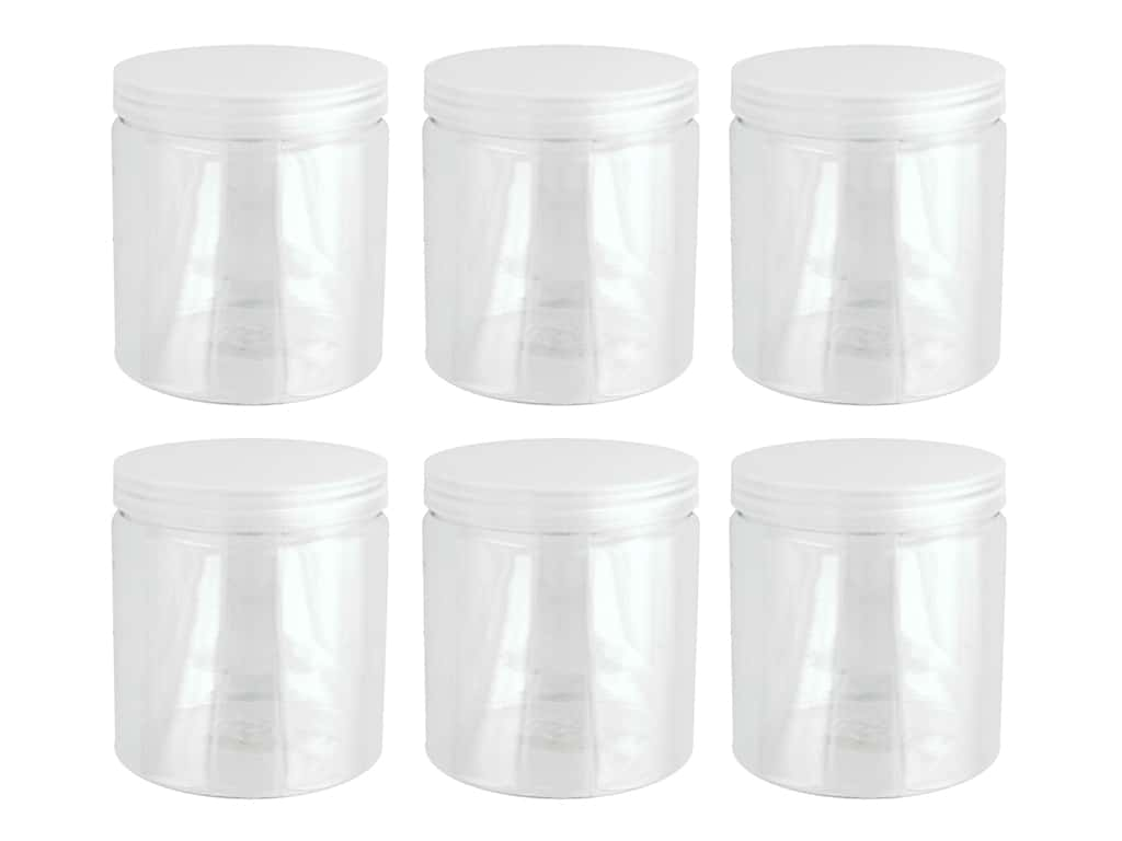 Plastic Jar With Lid 3.5 in. x 4 in. 6 pc