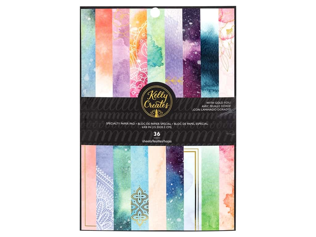 American Crafts Collection Kelly Creates Paper Pad 6 in. x 8 in. Gold Foil Galaxy