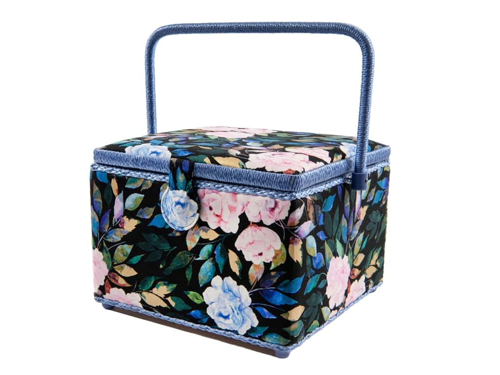 St Jane Sewing Basket Square Large Floral Black/Blue