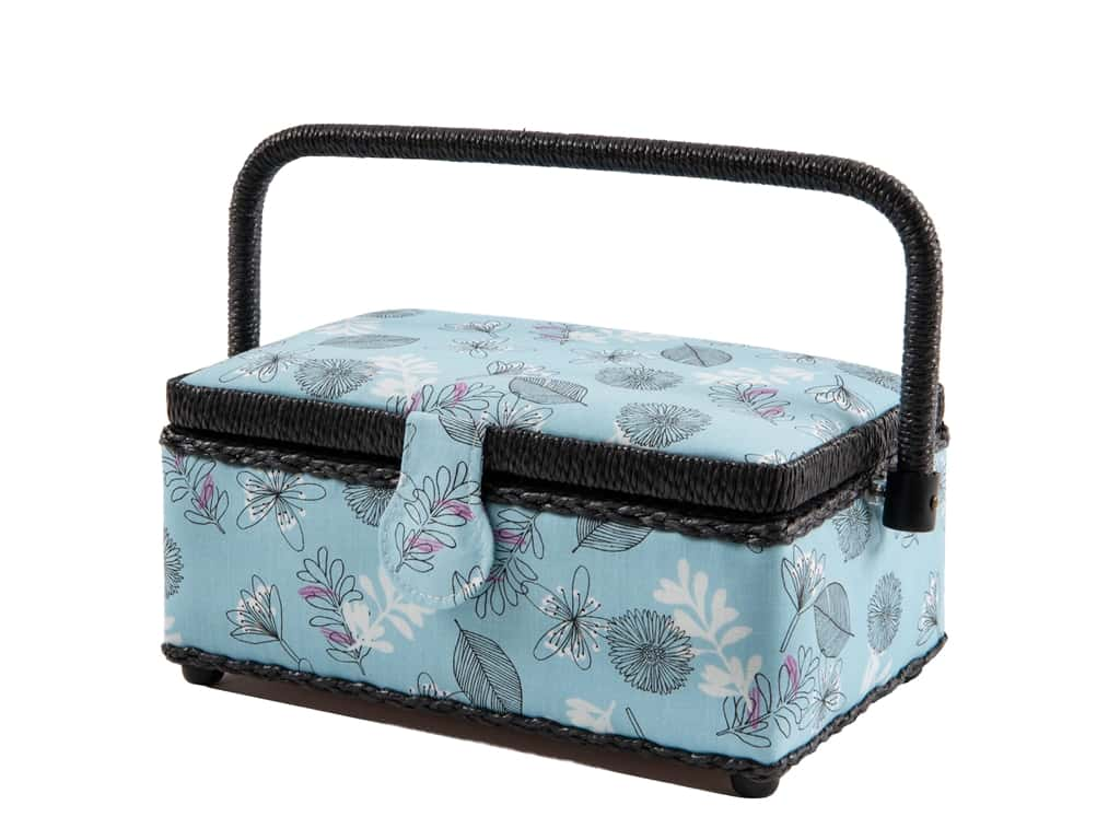 St Jane Sewing Basket Rectangle Small Floral Blue