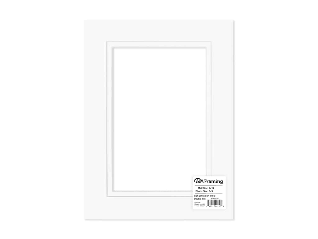 PA Framing Mat Double 9 in. x 12 in. /6 in. x 9 in. White Core Soft White/Soft White