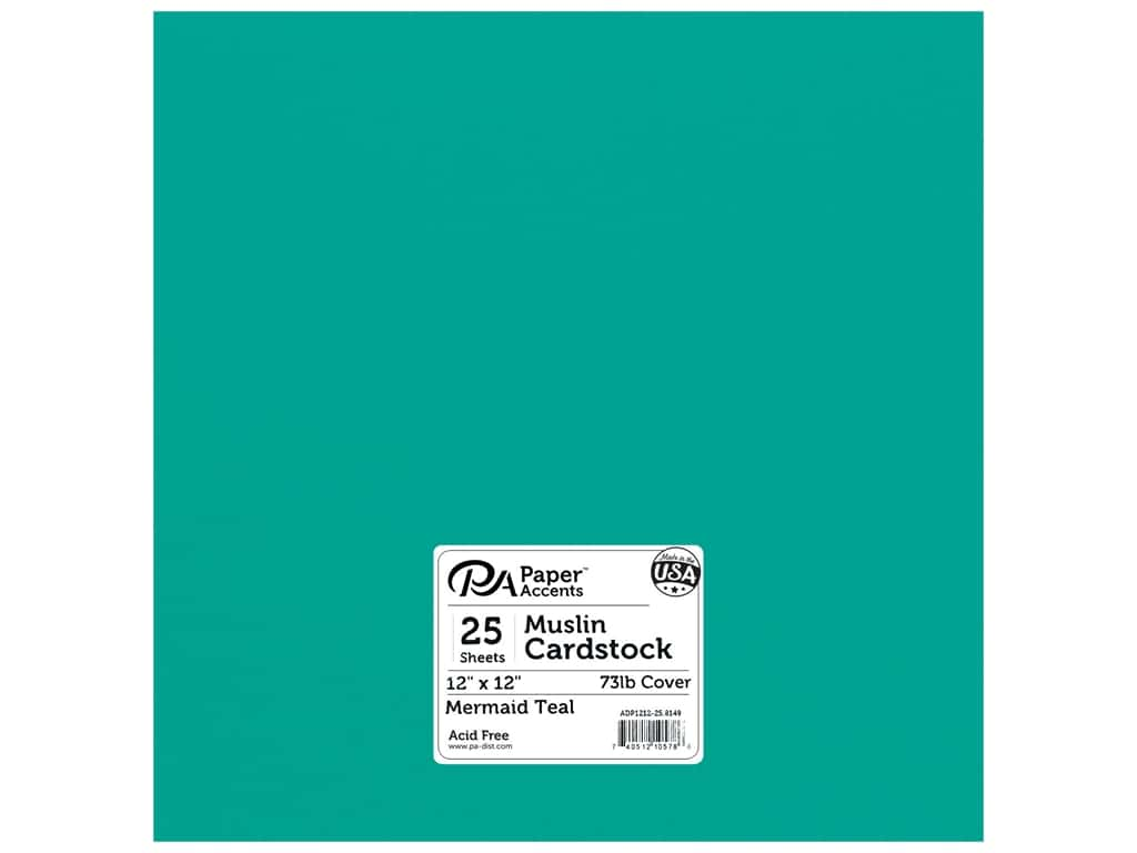Paper Accents Cardstock 12 x 12 in. #8149 Muslin Mermaid Teal 25 pc.