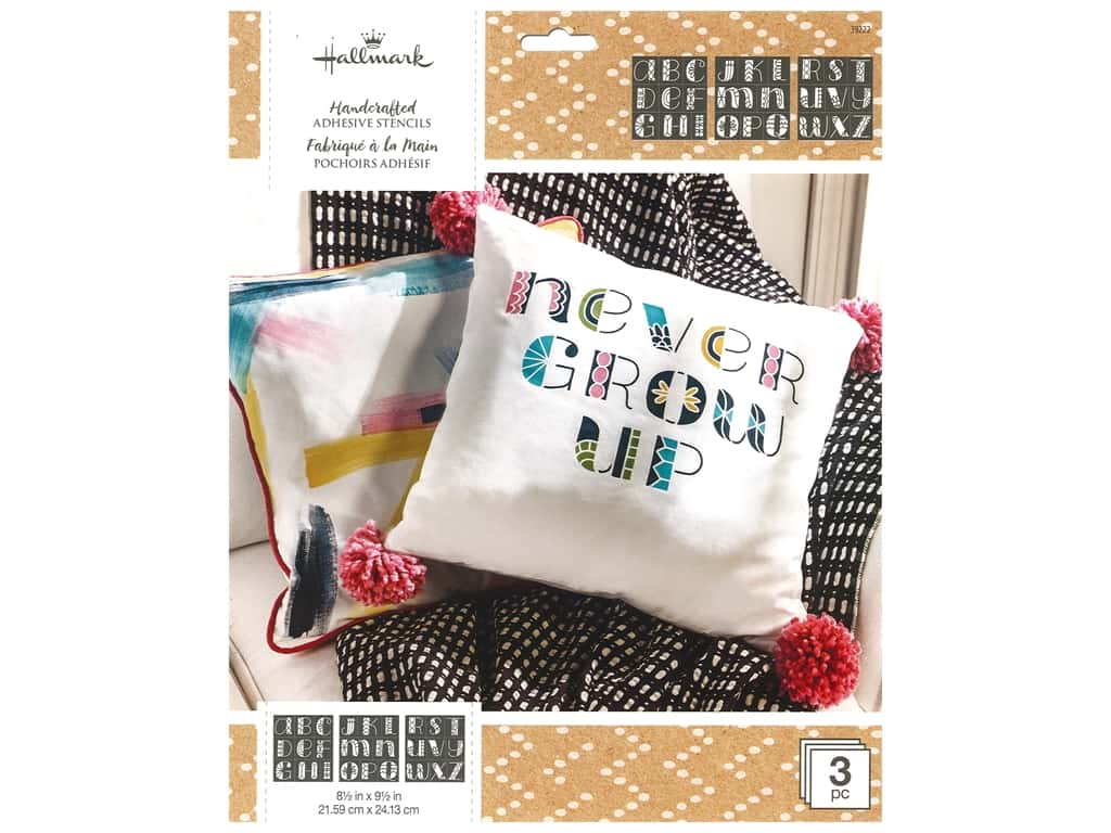 Plaid Hallmark Handcrafted Adhesive Stencils 8 1/2 x 9 1/2 in. Doodle Font