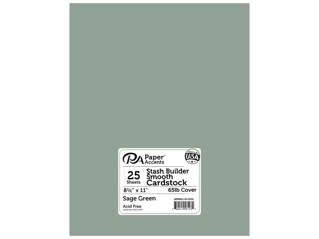 Paper Accents Cardstock 8.5 in. x 11 in. Stash Builder 65 lb 25 pc Pack Sage Green