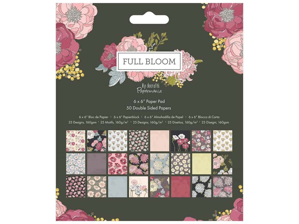 """Docrafts Papermania Paper Pad 6""""x 6"""" Full Bloom"""